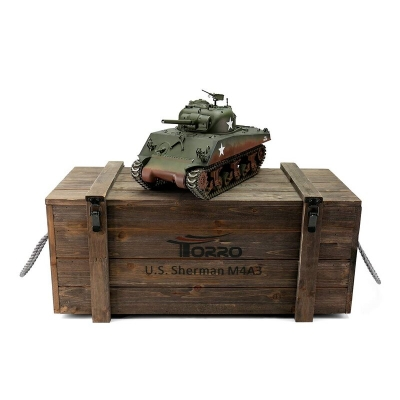 RC Tank M4A3 Sherman 75mm green BB 1/16