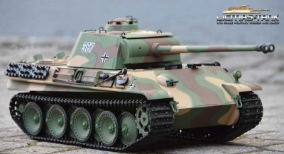 RC Tank 2.4 GHz Panther Ausf. G. Camouflage Shot Function 1:16 Heng Long  V6.0S Basic Version