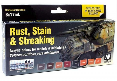 Rust, Stain & Streaking Set 8 x 17 ml  Vallejo 70183
