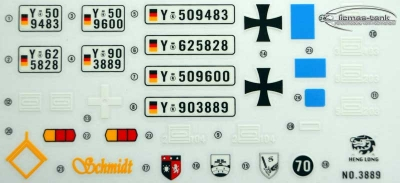 Sticker Decal Heng Long Tanks 1:16 Leopard 2 A6
