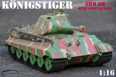 RC TANK 2.4 GHZ KÖNIGSTIGER WITH PORSCHE TOWER SOMMERTARN GREEN 1:16