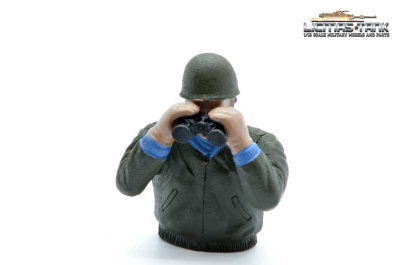 painted Sherman M4A3 tank commander with binoculars plastic