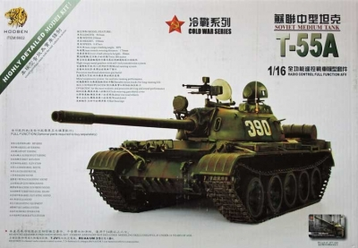 Russian T-55A Tank Model Kit With Gear Set and Tower Electronics Scale 1:16 Hooben