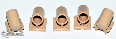 Tiger 1 smoke mortars - plastic - desert color - for new Taigen upper hull 1:16