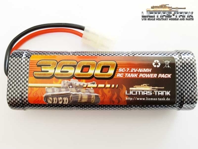 RC Tank NiMH Battery 7,2V / 3600 mAh with Tamiya Plug licmas-tank
