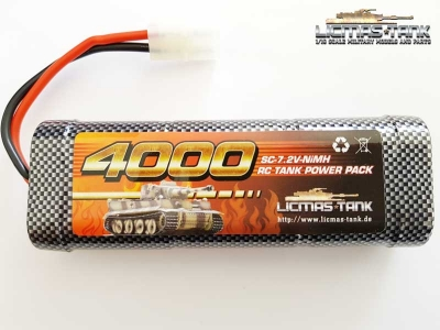 RC Tank NiMH Battery 7,2V / 4000 mAh with Tamiya Plug licmas-tank