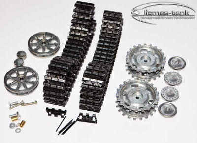 Taigen Black metal chain set with idler and stur wheels for Panzer 3 or Stug 3 from Heng Long & Taigen 1:16
