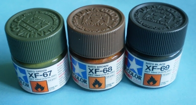 Tamiya Acrylic Paint SET: NATO Green XF-67 - NATO Brown XF-68 - NATO Black XF-69