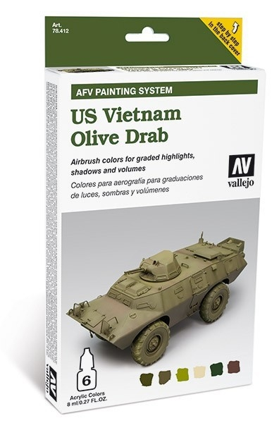 "Vallejo AFV Amour Painting System "" US Vietnam Olive Drab"" 78412 Airbrush Farben Set"