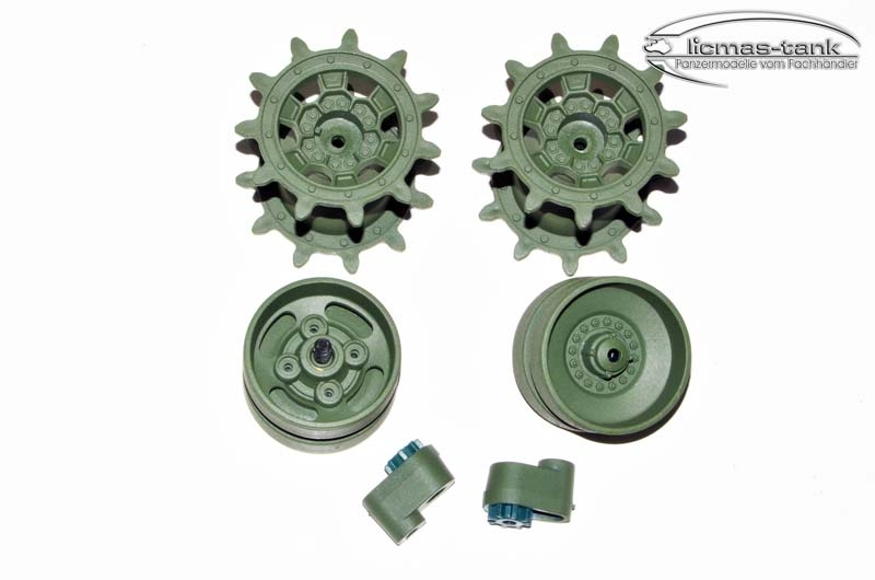1 pair of plastic control and traction wheels with chain tensioner for RC Tank Leopard 2 A6 Heng Long