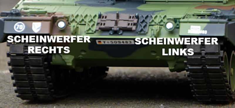 Heng Long Leopard 2 A6 Scheinwerfer links mit LED