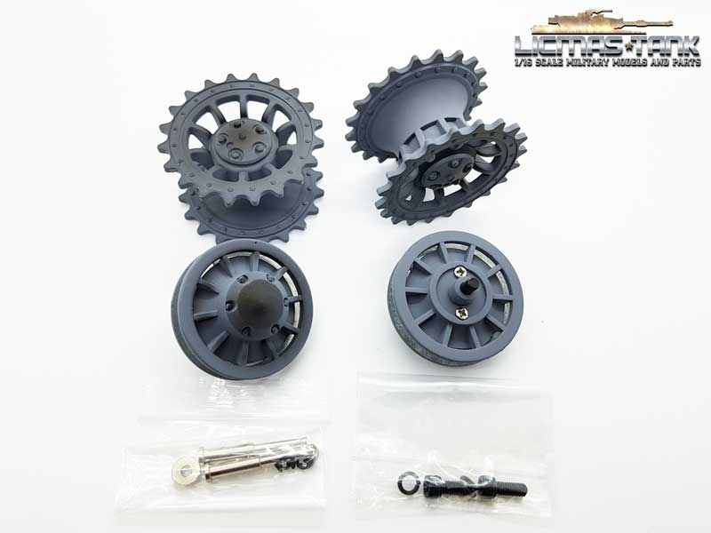Metal idler wheel and drive wheel set grey Tiger 1 for taigen or Heng Long 1:16