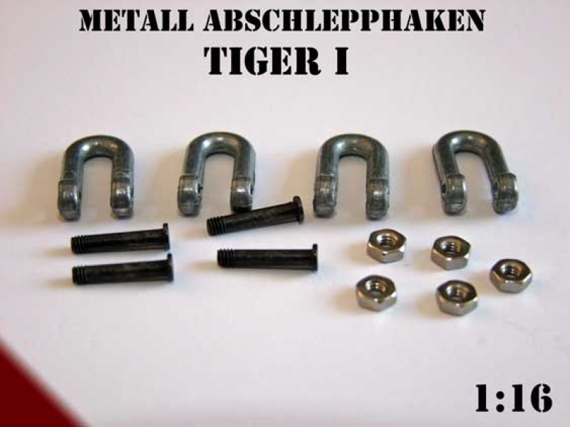 Metal tow hooks for tanks Tiger I Heng Long 1:16