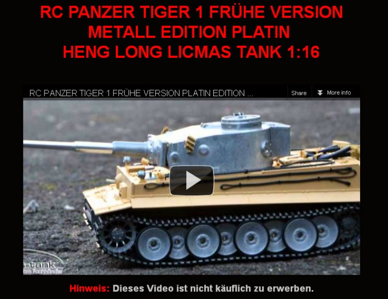 RC TANK TAIGEN TIGER 1 EARLY VERSION METAL EDITON PLATIN VIDEO