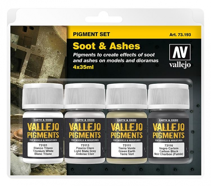 "Vallejo Pigment Set ""Soot & Ashes"" Ruß Asche / 4x35ml"