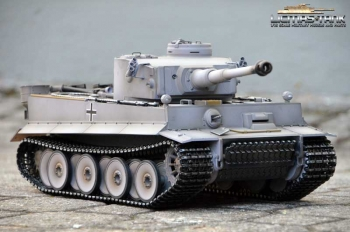 RC Panzer 2.4 GHz Tiger 1 frühe Version Airbrush grau ***Metall-Edition Platin 360° *** Taigen 1:16