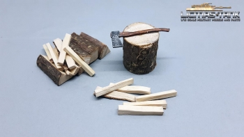 1/16 diorama accessory Lumber Yard with Ax - painted