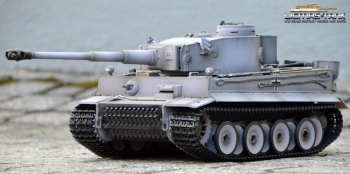 RC Panzer 2.4 GHz Taigen Tiger 1 Airbrush Grau BB RRZ Version 1:16 Licmas-Tank